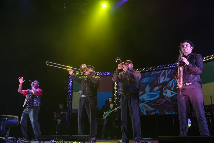 brass players and singer live nostalgia music concert decades rewind
